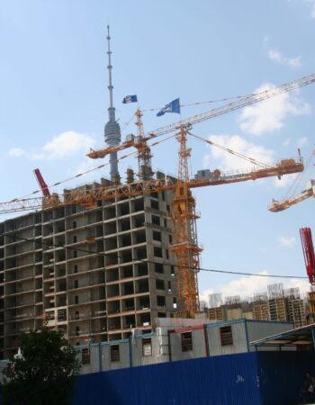 Башенные краны на стройке объекта Останкино г. Москва
