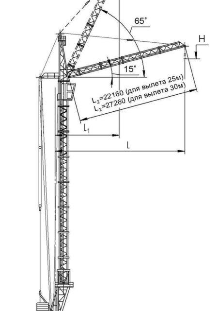Схема - Кран башенный КБМ-401ПА с подъемной стрелой.